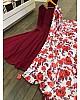 Maroon georgette anarkali gown with flower printed dupatta