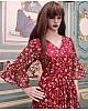 Maroon georgette digital printed gown