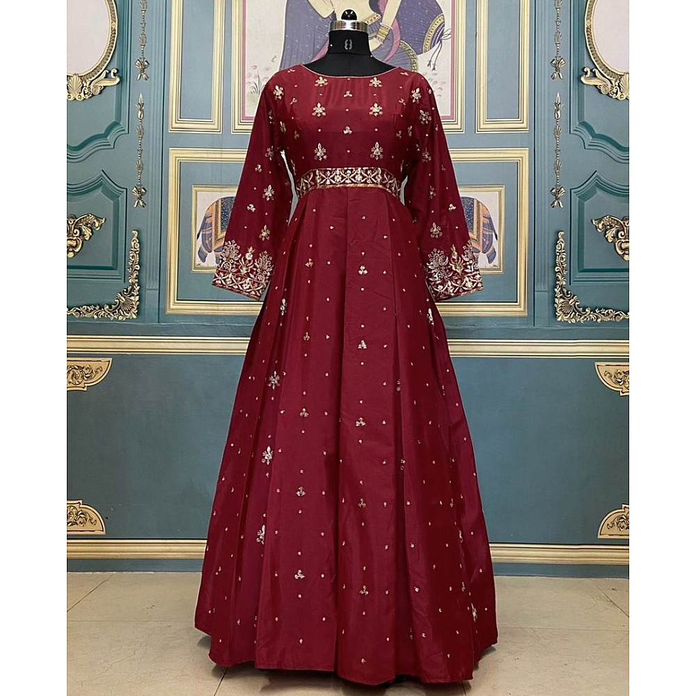 Maroon heavy malai crepe embroidery work gown