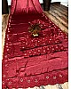 Maroon heavy satin silk embroidered partywear saree