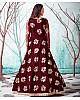 Maroon net metallic foil work party wear designer gown