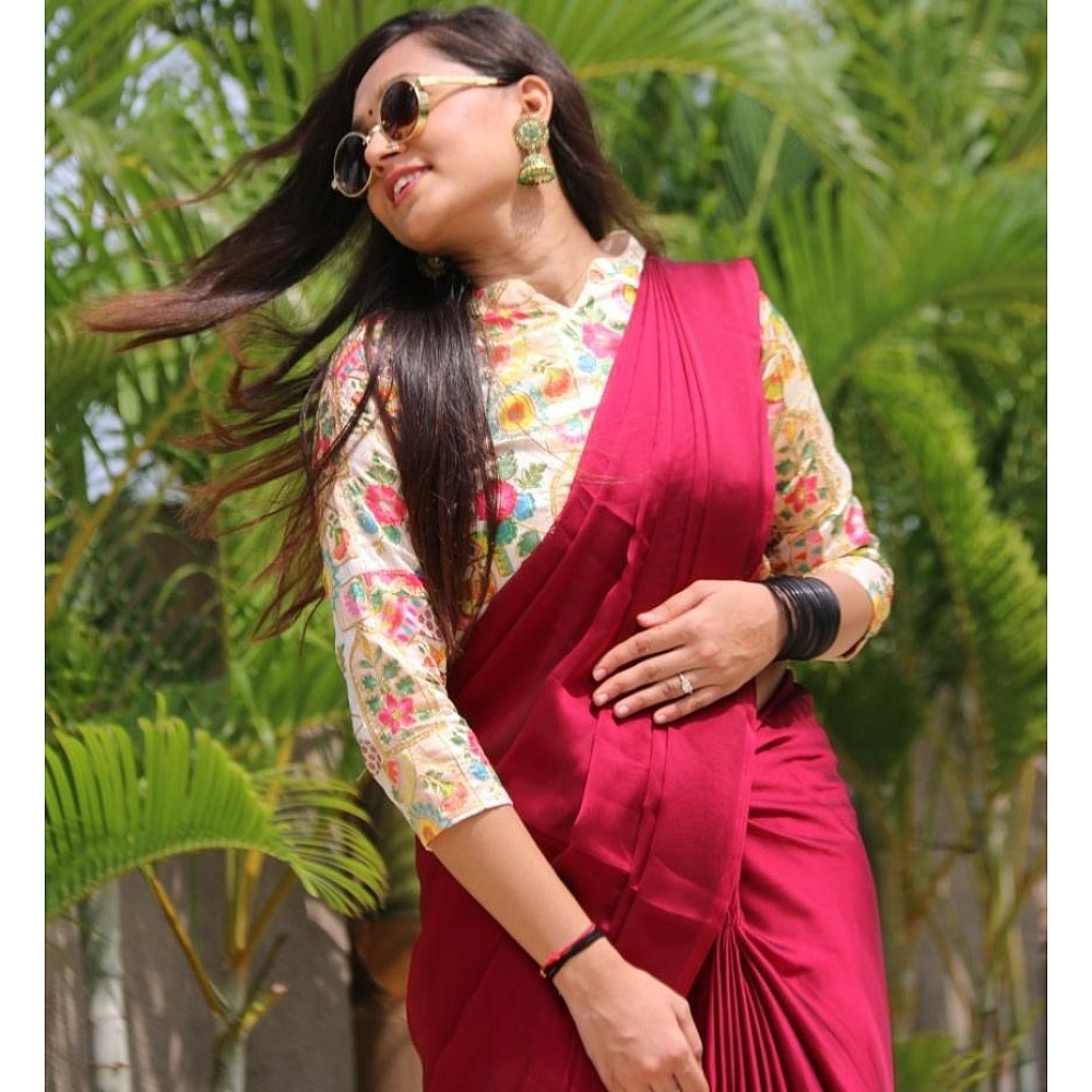 Maroon rangoli silk party wear saree with embroidered blouse