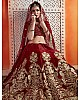 Maroon semi velvet zari & sequence work bridal lehenga choli
