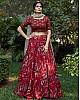 Maroon silk crepe flower printed party wear lehenga choli