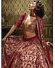 Maroon soft net sequence work bridal lehenga choli