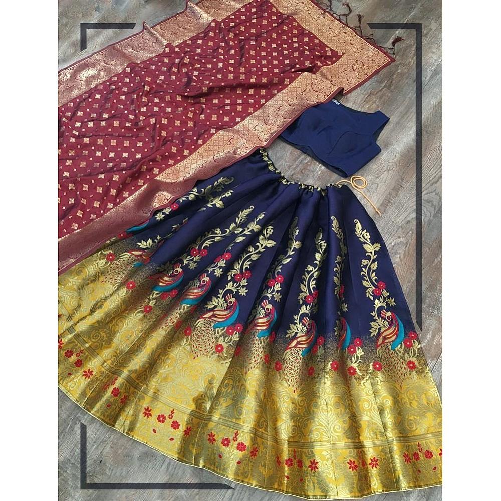 Multi colour jacquard zari work party wear lehenga choli