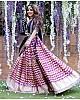 Multi-coloured banarasi silk digital printed lehenga choli