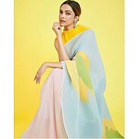 Multicolor georgette printed pleated bollywood saree