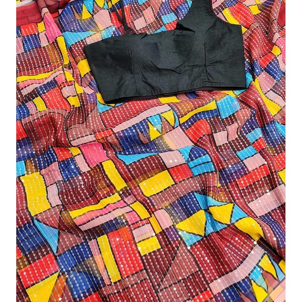 Multicolour georgette digital printed sequence work saree