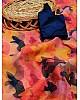 Multicolour organza silk digital printed work saree