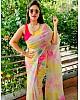 Multicolour pure soft organza silk printed saree