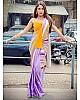 Multicoloured american crape silk digital printed saree