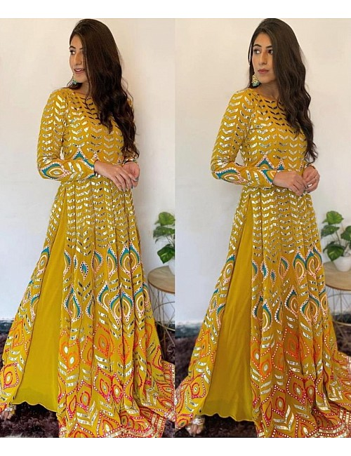 Mustard yellow georgette embroidered top with plazzo
