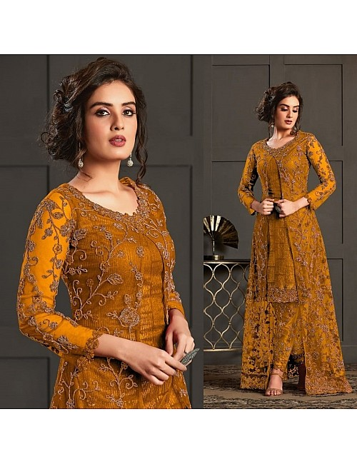 Mustard yellow heavy butterfly net with embroidered work salwar suit with koti