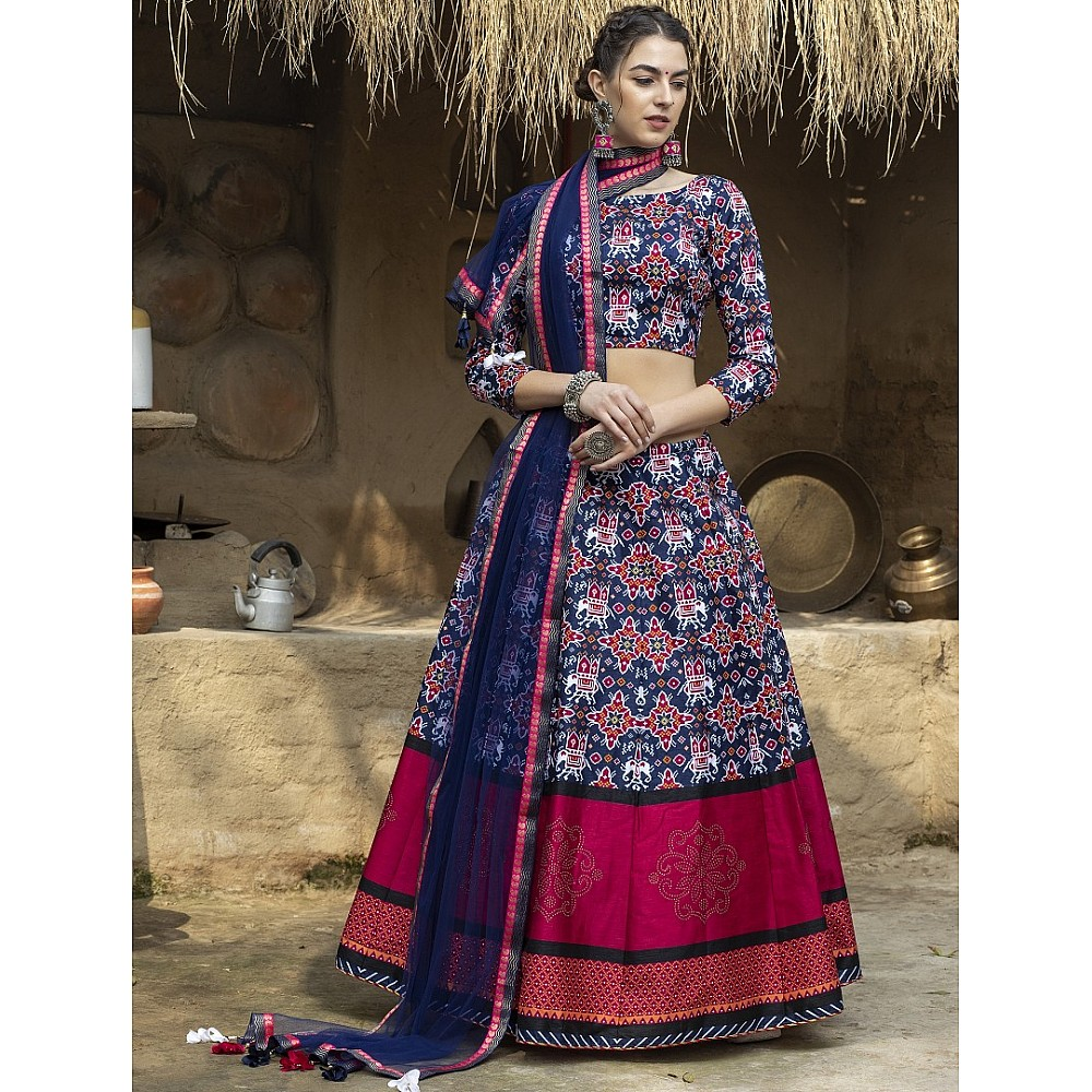 Navy blue art silk printed party wear & ceremonial  lehenga choli