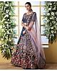 Navy blue art silk sequence thread embroidered bridal lehenga choli