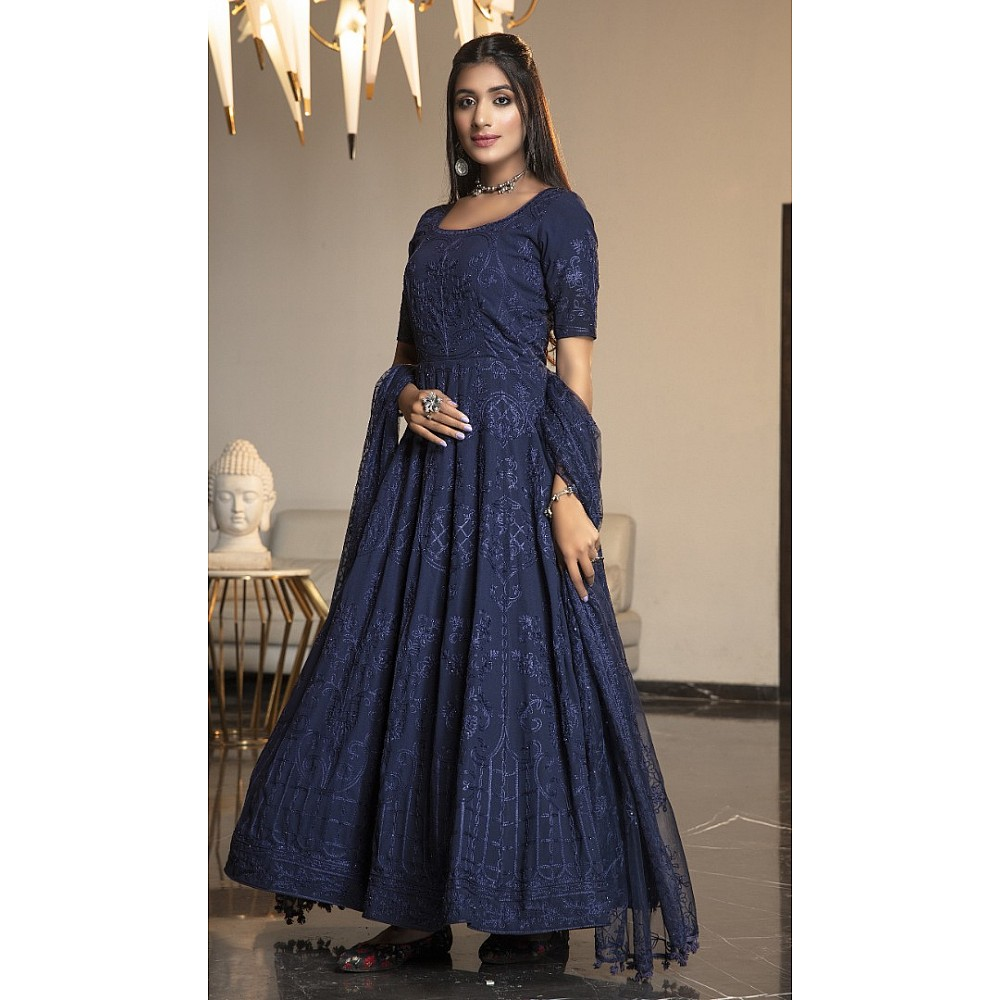Navy blue diamond georgette embroidered anrkali gown