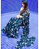 Navy blue georgette digital printed work ruffle saree