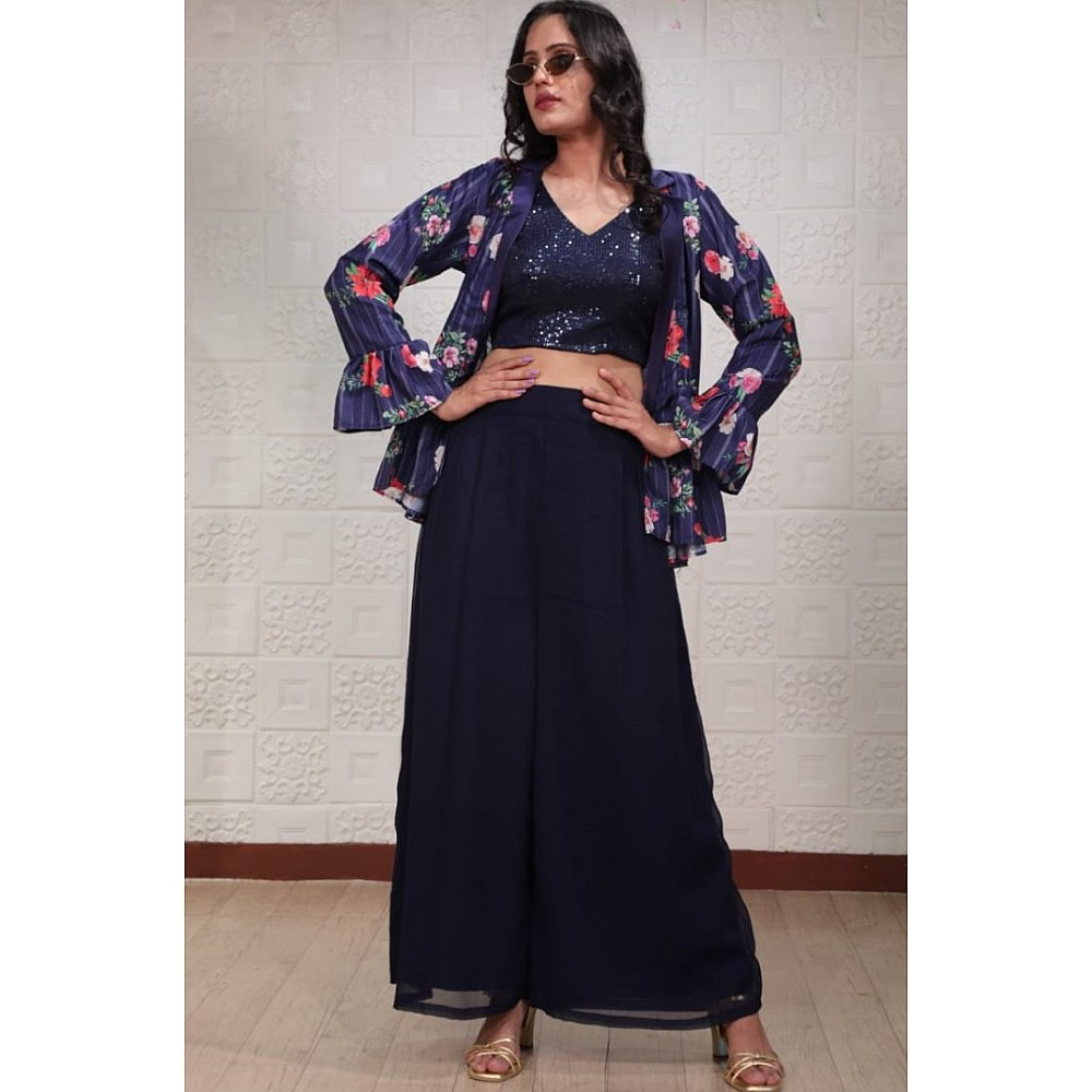 Navy blue georgette sequence work plazzo suit with printed koti