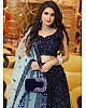 Navy blue heavy velvet sequence work wedding lehenga choli