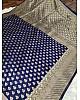 Navy blue kanchipuram soft lichi silk jacquard weaving work saree