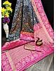 Navy blue kanjiwaram lichi silk jacquard weaving work wedding saree