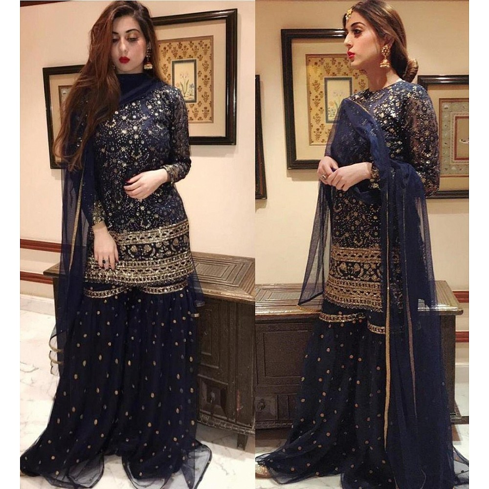 Navy blue net sequence embroidered sharara salwar suit