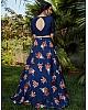 Navy blue silk crepe flower printed party wear lehenga choli