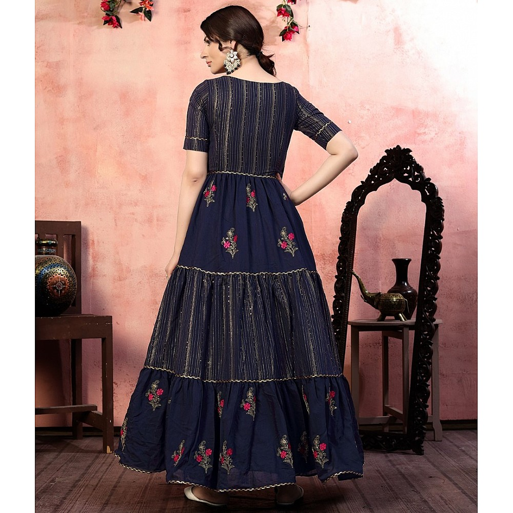 Navy blue silk sequence thread embroidered party wear gown