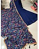 Navy blue taffeta satin silk gown with zari embroidered dupatta