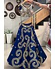 Navy blue taffeta silk cording embroidered work ceremonial lehenga choli