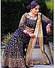 Navy blue velvet heavy embroidered mirror work wedding lehenga choli