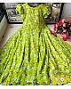 Neon green heavy georgette digital flower printed gown