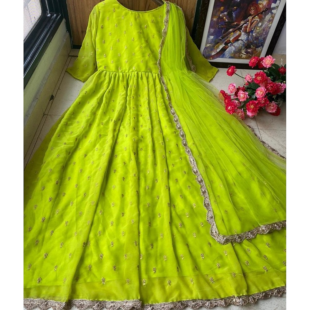 Neon green heavy georgette with embroidered work party wear gown