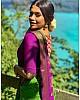 Neon green kanchipuram silk jacquard weaving work wedding saree