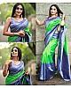 Neon green soft lichi silk jacquard weaving work saree