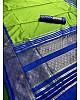 Neon green soft lichi silk jacquard weaving work wedding saree