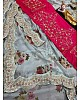 Off white georgette cording sequence n printed work saree