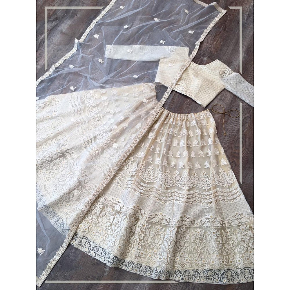Off white net lucknowi embroidered lehenga choli
