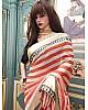 Orange and white stripe printed saree