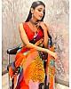Orange georgette digital printed jardosi work saree