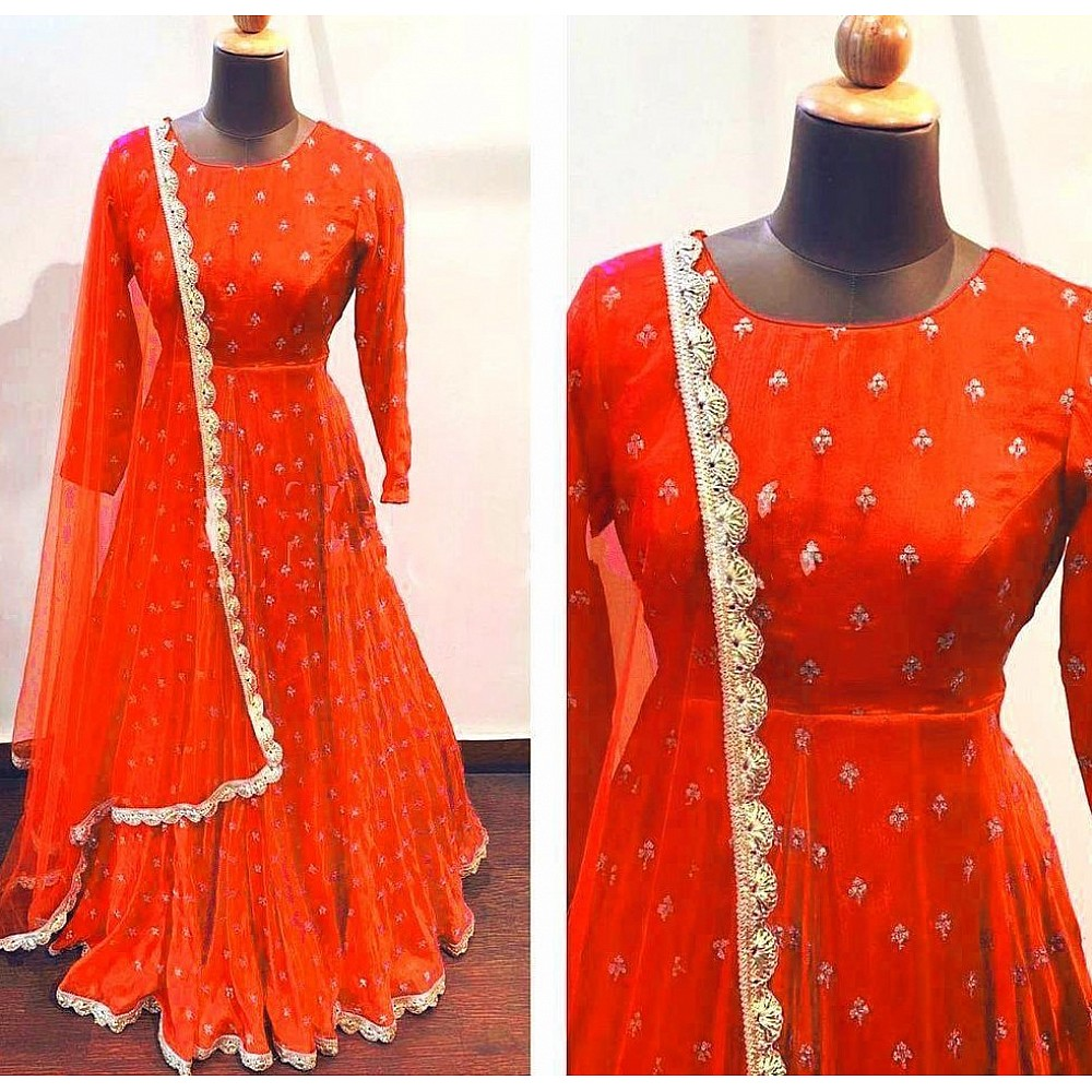 Orange heavy georgette with embroidered work party wear gown