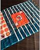 Orange linen digital print cotton tussles work saree
