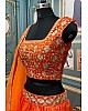 Orange organza printed and embroidered lehenga choli