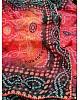 Orange organza silk bandhani printed work saree
