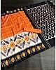 Orange slub linen cotton digital printed work saree