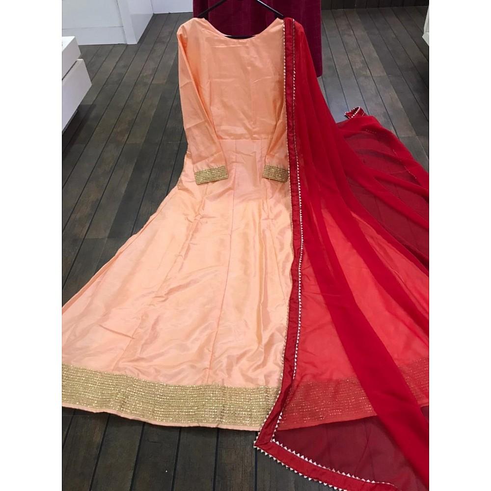 Peach dola silk plain gown