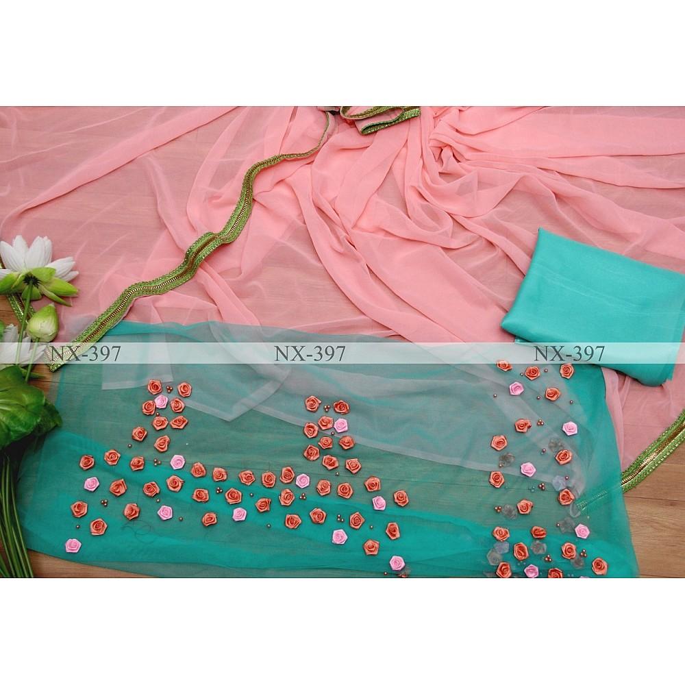 Peach georgette saree with flower work blouse