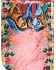 Peach original linen digital printed work fancy saree