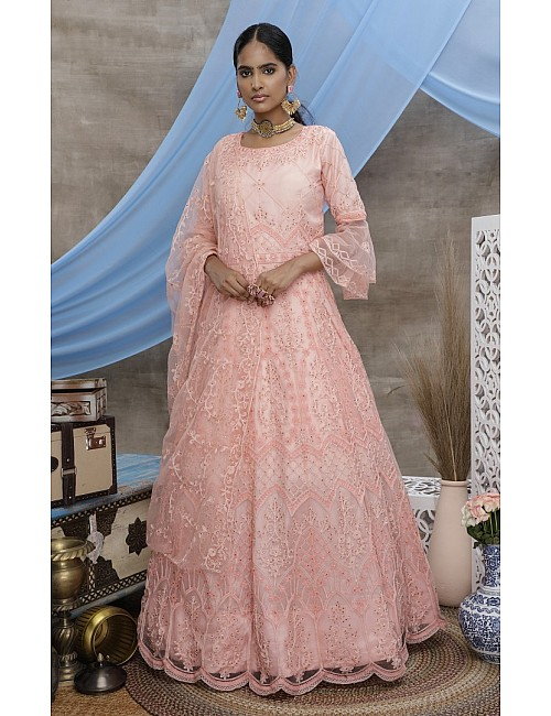 Peach santoon embroidered party wear lehenga gown